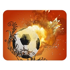 Soccer With Fire And Flame And Floral Elelements Double Sided Flano Blanket (large)  by FantasyWorld7