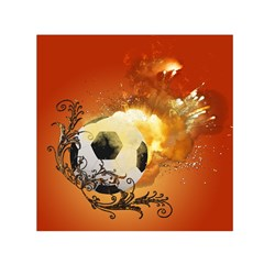 Soccer With Fire And Flame And Floral Elelements Small Satin Scarf (Square)  by FantasyWorld7