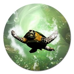 Beautiful Seaturtle With Bubbles Magnet 5  (round) by FantasyWorld7
