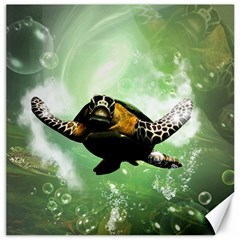 Beautiful Seaturtle With Bubbles Canvas 12  X 12   by FantasyWorld7