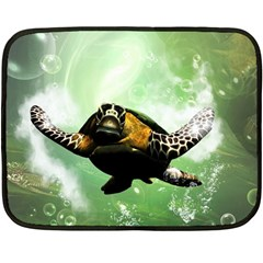 Beautiful Seaturtle With Bubbles Fleece Blanket (mini) by FantasyWorld7