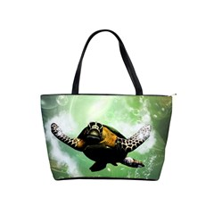 Beautiful Seaturtle With Bubbles Shoulder Handbags by FantasyWorld7