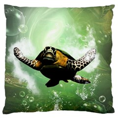 Beautiful Seaturtle With Bubbles Large Cushion Cases (two Sides)  by FantasyWorld7