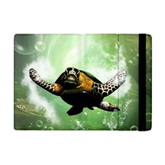 Beautiful Seaturtle With Bubbles Apple Ipad Mini Flip Case by FantasyWorld7