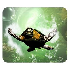Beautiful Seaturtle With Bubbles Double Sided Flano Blanket (small)  by FantasyWorld7
