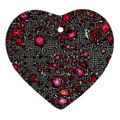 Sci Fi Fantasy Cosmos Red  Ornament (heart)  by ImpressiveMoments