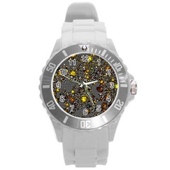 Sci Fi Fantasy Cosmos Yellow Round Plastic Sport Watch (l) by ImpressiveMoments