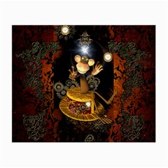 Steampunk, Funny Monkey With Clocks And Gears Small Glasses Cloth by FantasyWorld7