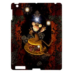Steampunk, Funny Monkey With Clocks And Gears Apple iPad 3/4 Hardshell Case by FantasyWorld7