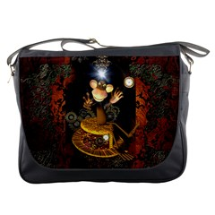 Steampunk, Funny Monkey With Clocks And Gears Messenger Bags by FantasyWorld7