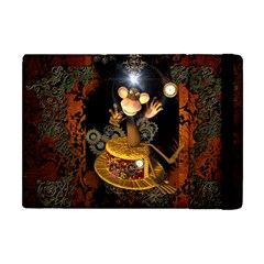 Steampunk, Funny Monkey With Clocks And Gears Apple Ipad Mini Flip Case by FantasyWorld7