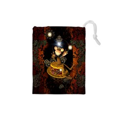 Steampunk, Funny Monkey With Clocks And Gears Drawstring Pouches (small)  by FantasyWorld7