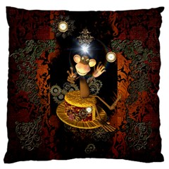 Steampunk, Funny Monkey With Clocks And Gears Large Flano Cushion Cases (two Sides)  by FantasyWorld7