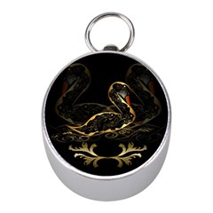 Wonderful Swan In Gold And Black With Floral Elements Mini Silver Compasses by FantasyWorld7