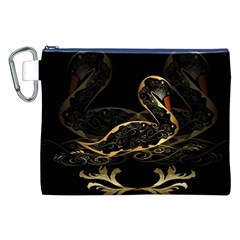Wonderful Swan In Gold And Black With Floral Elements Canvas Cosmetic Bag (xxl)  by FantasyWorld7