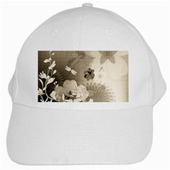 Vintage, Wonderful Flowers With Dragonflies White Cap by FantasyWorld7