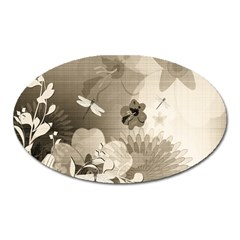 Vintage, Wonderful Flowers With Dragonflies Oval Magnet by FantasyWorld7