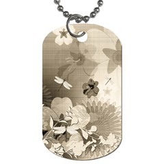 Vintage, Wonderful Flowers With Dragonflies Dog Tag (One Side) by FantasyWorld7