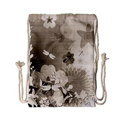 Vintage, Wonderful Flowers With Dragonflies Drawstring Bag (small) by FantasyWorld7