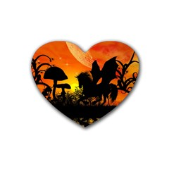 Beautiful Unicorn Silhouette In The Sunset Rubber Coaster (heart)  by FantasyWorld7