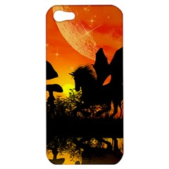Beautiful Unicorn Silhouette In The Sunset Apple Iphone 5 Hardshell Case by FantasyWorld7