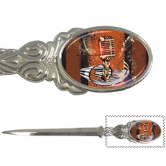 Microphone With Piano And Floral Elements Letter Openers by FantasyWorld7