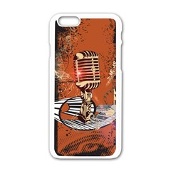 Microphone With Piano And Floral Elements Apple Iphone 6/6s White Enamel Case
