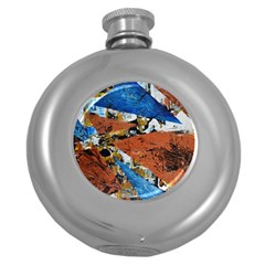 Triangles Round Hip Flask (5 oz) by timelessartoncanvas