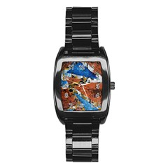 Triangles Stainless Steel Barrel Watch by timelessartoncanvas