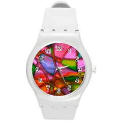 Imposant Abstract Red Round Plastic Sport Watch (m) by ImpressiveMoments
