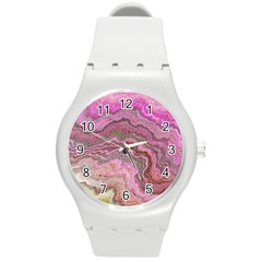 Keep Calm Pink Round Plastic Sport Watch (m) by ImpressiveMoments