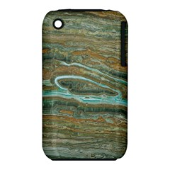 Brown And Green Marble Stone Print Apple Iphone 3g/3gs Hardshell Case (pc+silicone) by Dushan