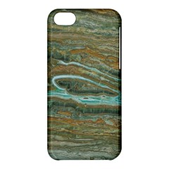 Brown And Green Marble Stone Print Apple Iphone 5c Hardshell Case by Dushan