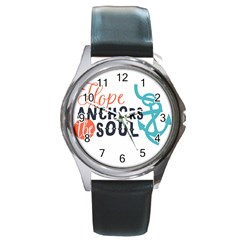 Hope Anchors The Soul Nautical Quote Round Metal Watches by CraftyLittleNodes