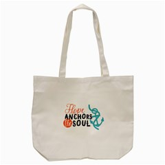Hope Anchors The Soul Nautical Quote Tote Bag (cream)  by CraftyLittleNodes