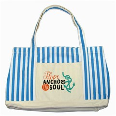 Hope Anchors The Soul Nautical Quote Striped Blue Tote Bag  by CraftyLittleNodes