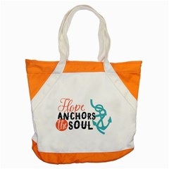 Hope Anchors The Soul Nautical Quote Accent Tote Bag  by CraftyLittleNodes