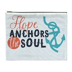 Hope Anchors The Soul Nautical Quote Cosmetic Bag (xl) by CraftyLittleNodes