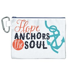 Hope Anchors The Soul Nautical Quote Canvas Cosmetic Bag (xl)  by CraftyLittleNodes