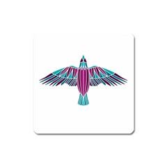 Stained Glass Bird Illustration  Square Magnet by carocollins