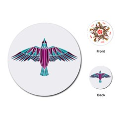 Stained Glass Bird Illustration  Playing Cards (round)  by carocollins
