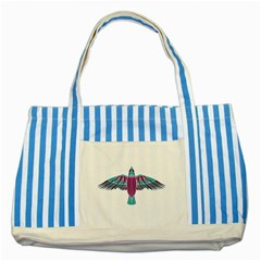 Stained Glass Bird Illustration  Striped Blue Tote Bag  by carocollins