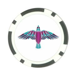 Stained Glass Bird Illustration  Poker Chip Card Guards by carocollins