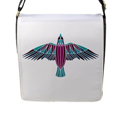 Stained Glass Bird Illustration  Flap Messenger Bag (l)  by carocollins