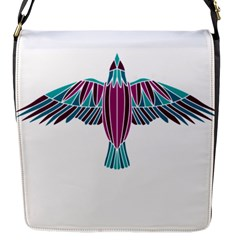 Stained Glass Bird Illustration  Flap Messenger Bag (s) by carocollins