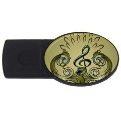 Decorative Clef With Damask In Soft Green Usb Flash Drive Oval (4 Gb)  by FantasyWorld7