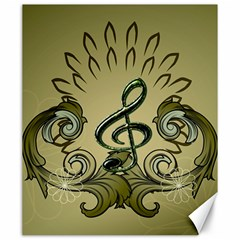 Decorative Clef With Damask In Soft Green Canvas 20  X 24   by FantasyWorld7