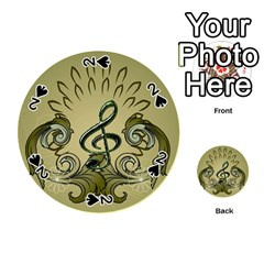 Decorative Clef With Damask In Soft Green Playing Cards 54 (round)  by FantasyWorld7