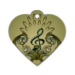 Decorative Clef With Damask In Soft Green Dog Tag Heart (two Sides) by FantasyWorld7
