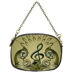 Decorative Clef With Damask In Soft Green Chain Purses (two Sides)  by FantasyWorld7